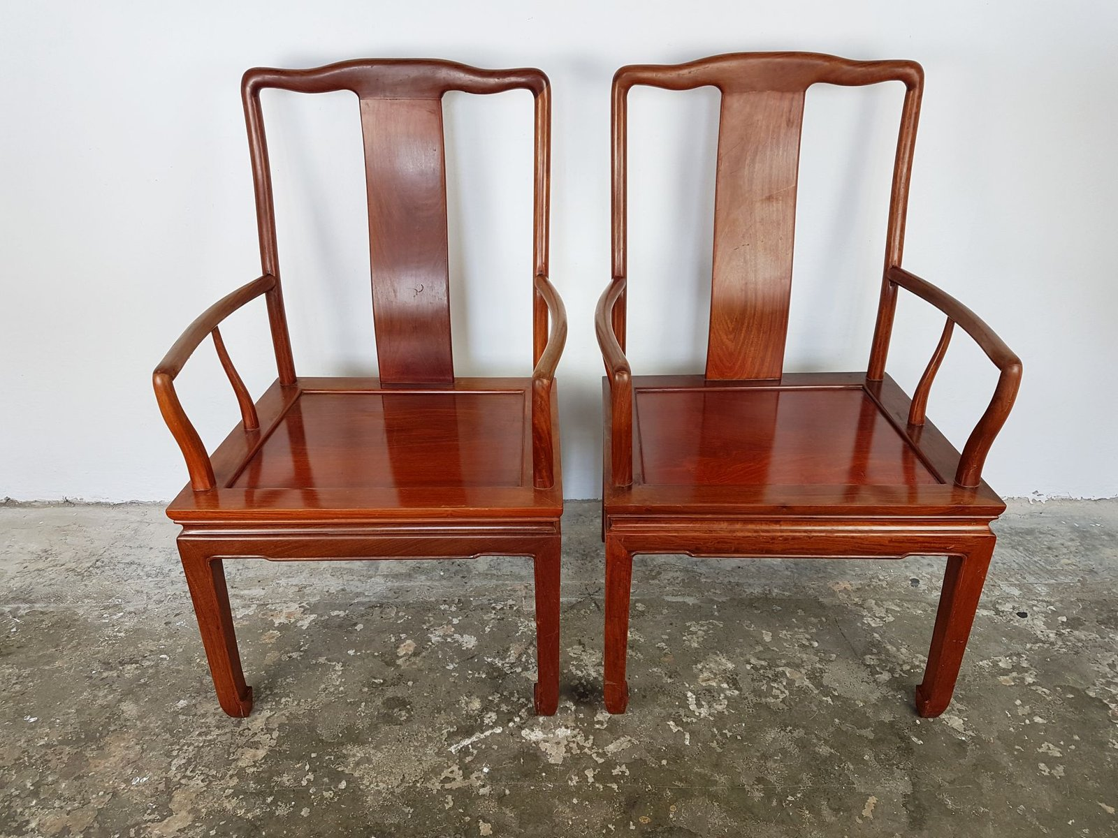 Vintage Chinese Rosewood Desk Chairs Set of 2 for sale at Pamono