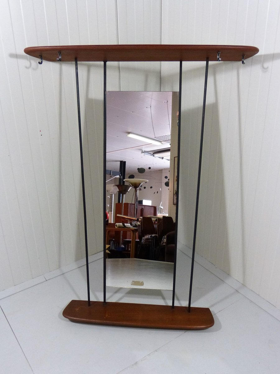 teak coat rack with mirror 1950s for sale at pamono. Black Bedroom Furniture Sets. Home Design Ideas