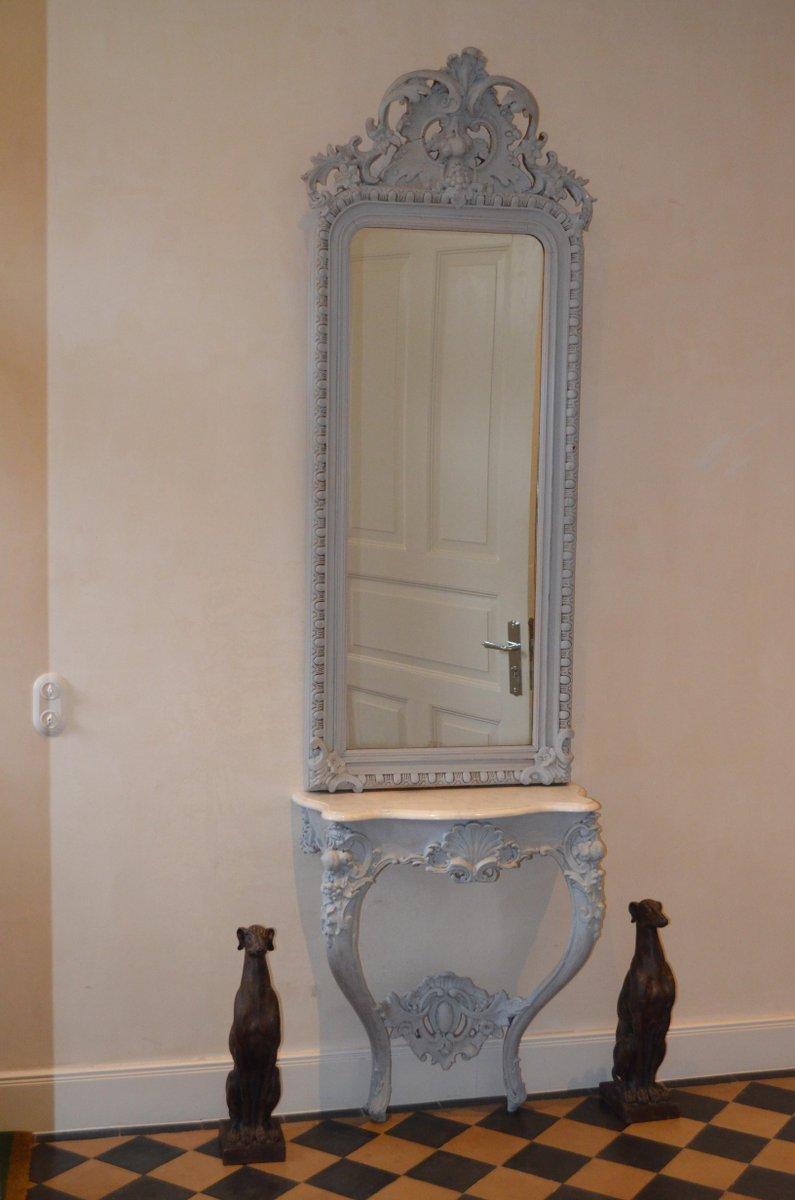 rokoko spiegel mit konsolentisch bei pamono kaufen. Black Bedroom Furniture Sets. Home Design Ideas