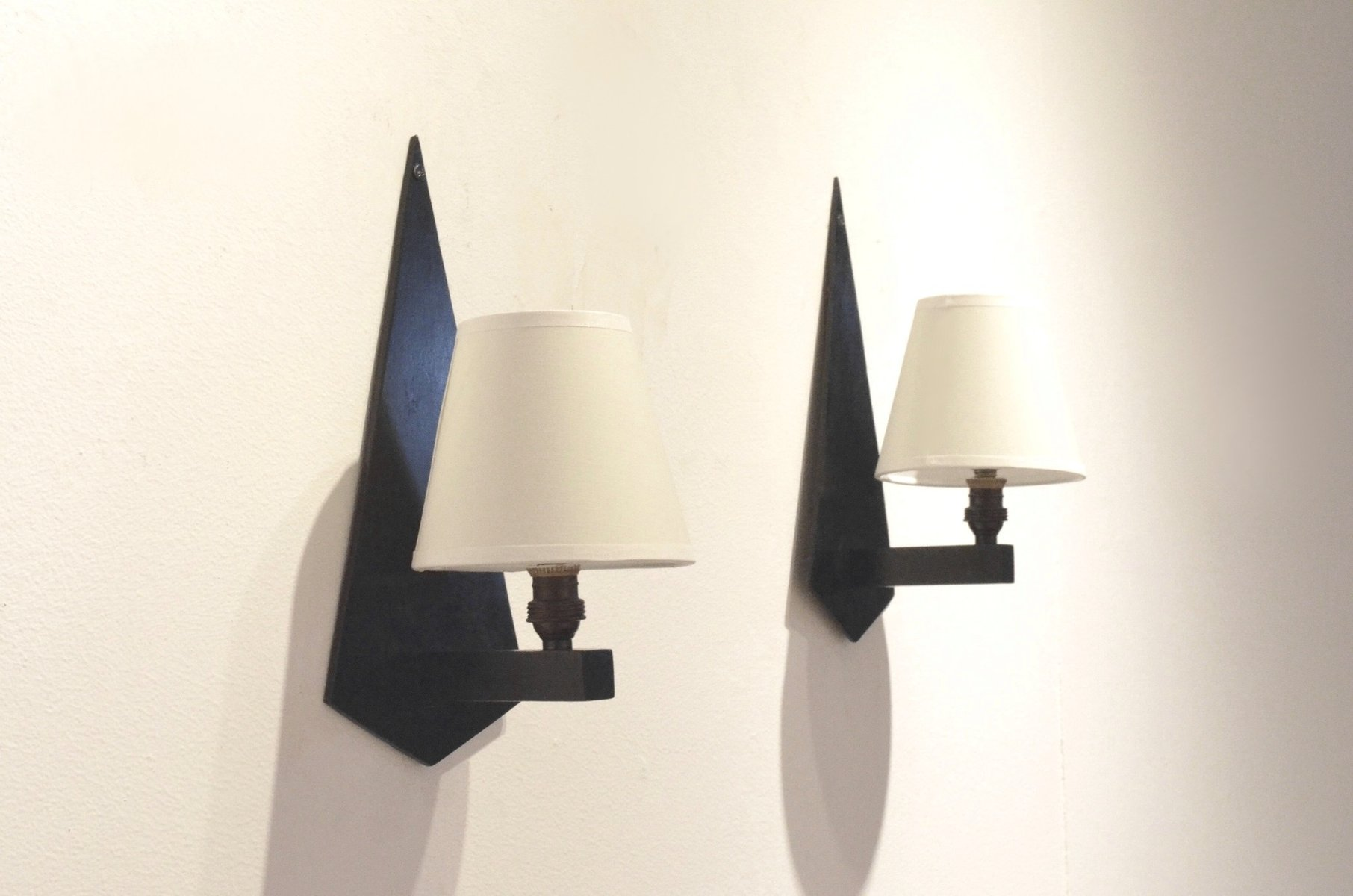 Constructivist Wall Sconces in Black Wood & Glass, Set of 2, 1930s for sale at Pamono