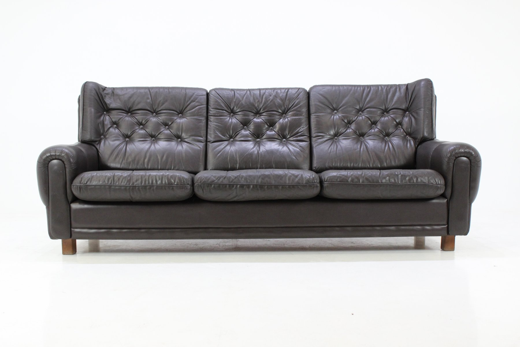 Czech Leather Brown Sofa 1970s for sale at Pamono