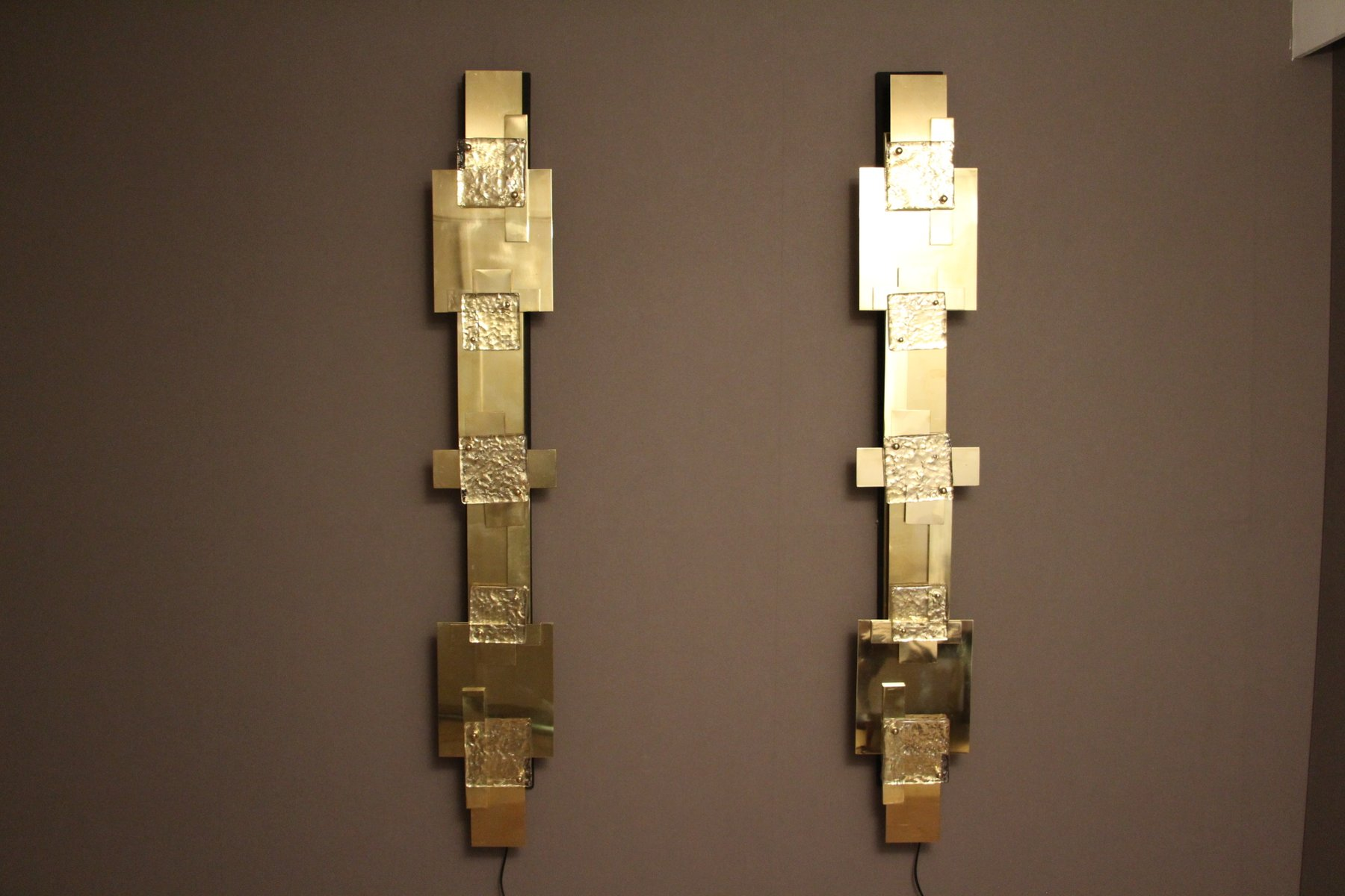 Wall Lights Polished Brass : Long Vintage Polished Brass Wall Lights, Set of 2 for sale at Pamono
