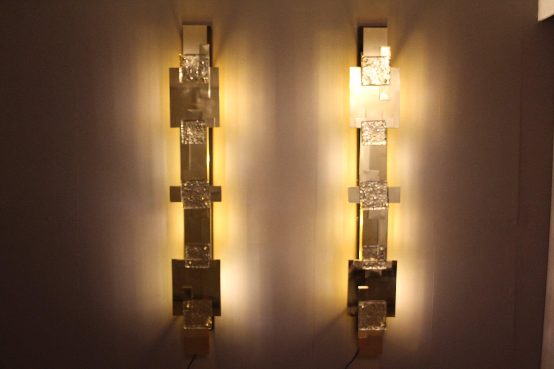 Wall Lights Long : Long Vintage Polished Brass Wall Lights, Set of 2 for sale at Pamono