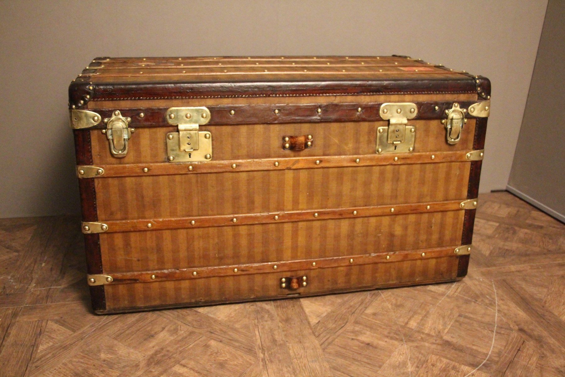 Steamer Trunk Furniture Antique Striped Canvas Steamer Trunk From Louis Vuitton For Sale