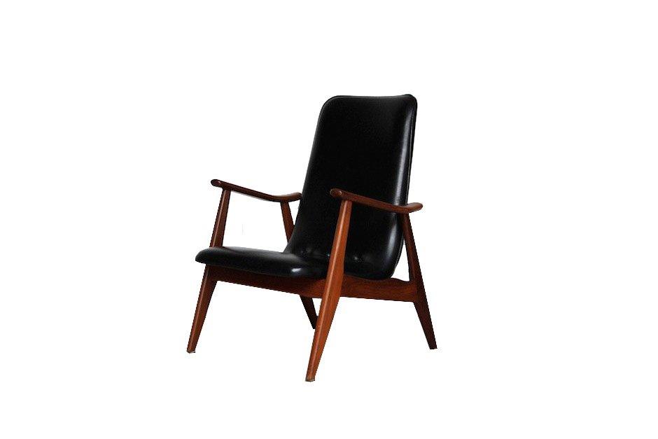 schwarzer sessel von louis van teeffelen f r w b bei. Black Bedroom Furniture Sets. Home Design Ideas