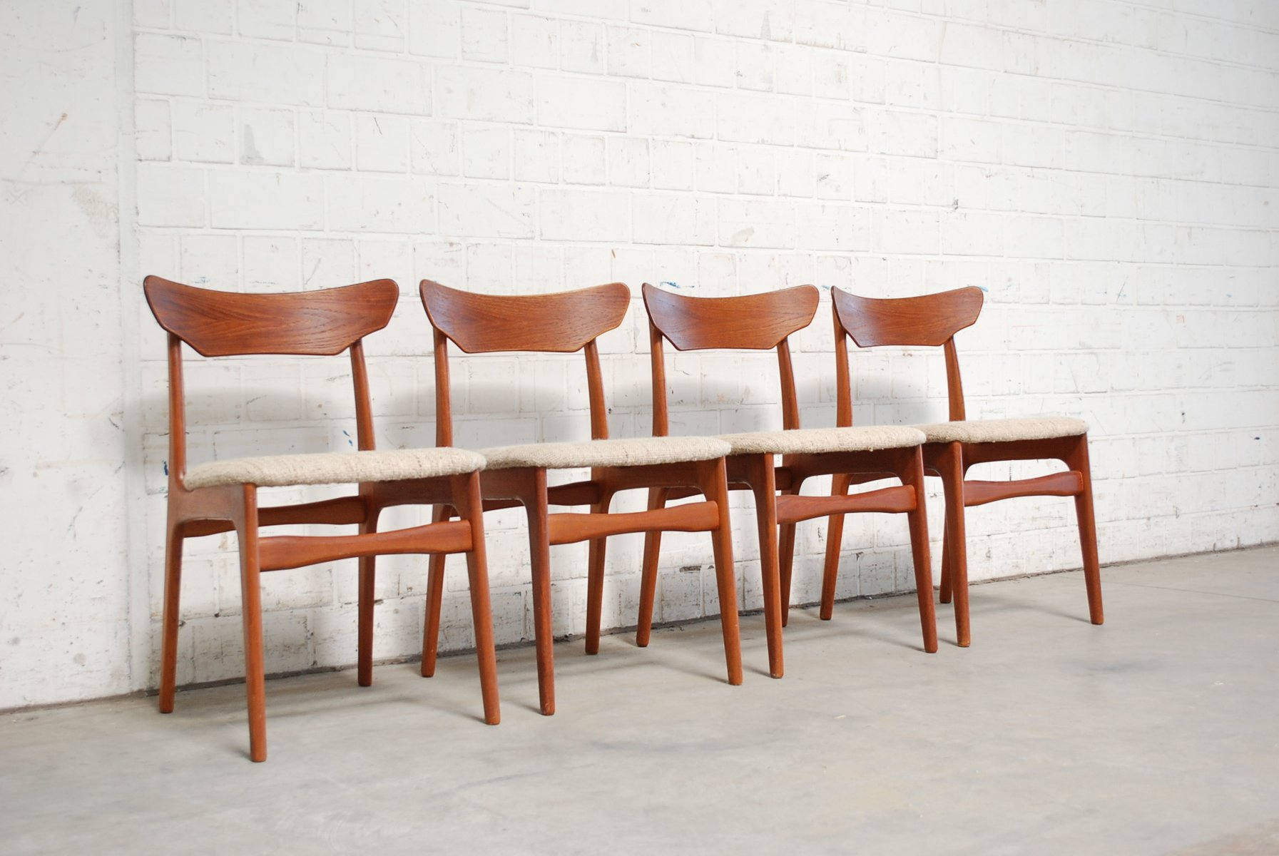 Mid Century Danish Teak And Wool Dining Chairs From Schiønning U0026 Elgaard,  1960s, Set Of 4