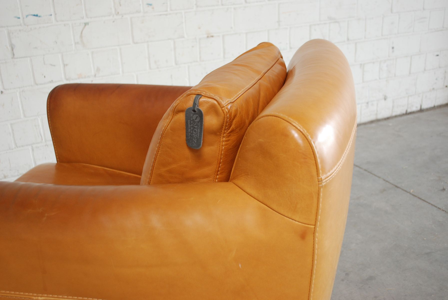 Vintage Italian Cognac Leather Club Lounge Chair From