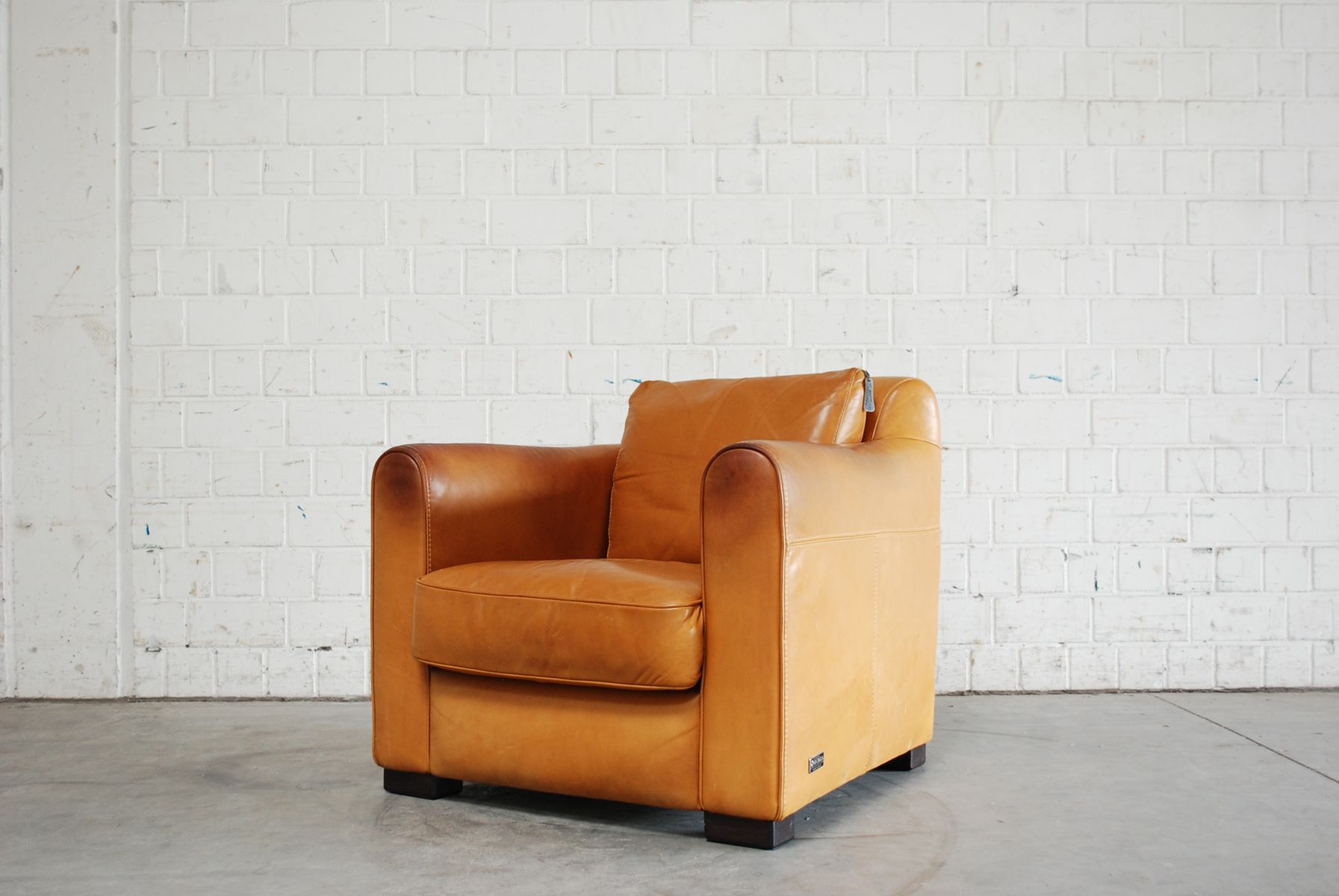 Vintage Italian Cognac Leather Club Lounge Chair from Giovanni