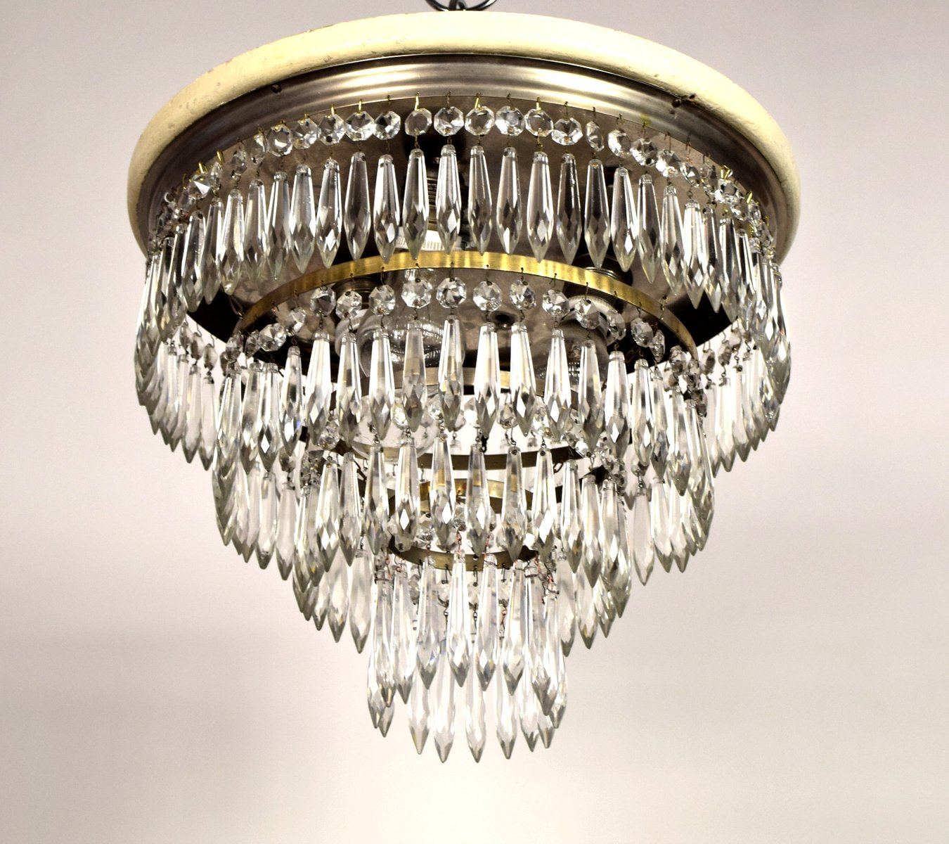 Art nouveau ceiling light with crystal prisms for sale at pamono price per piece mozeypictures Choice Image