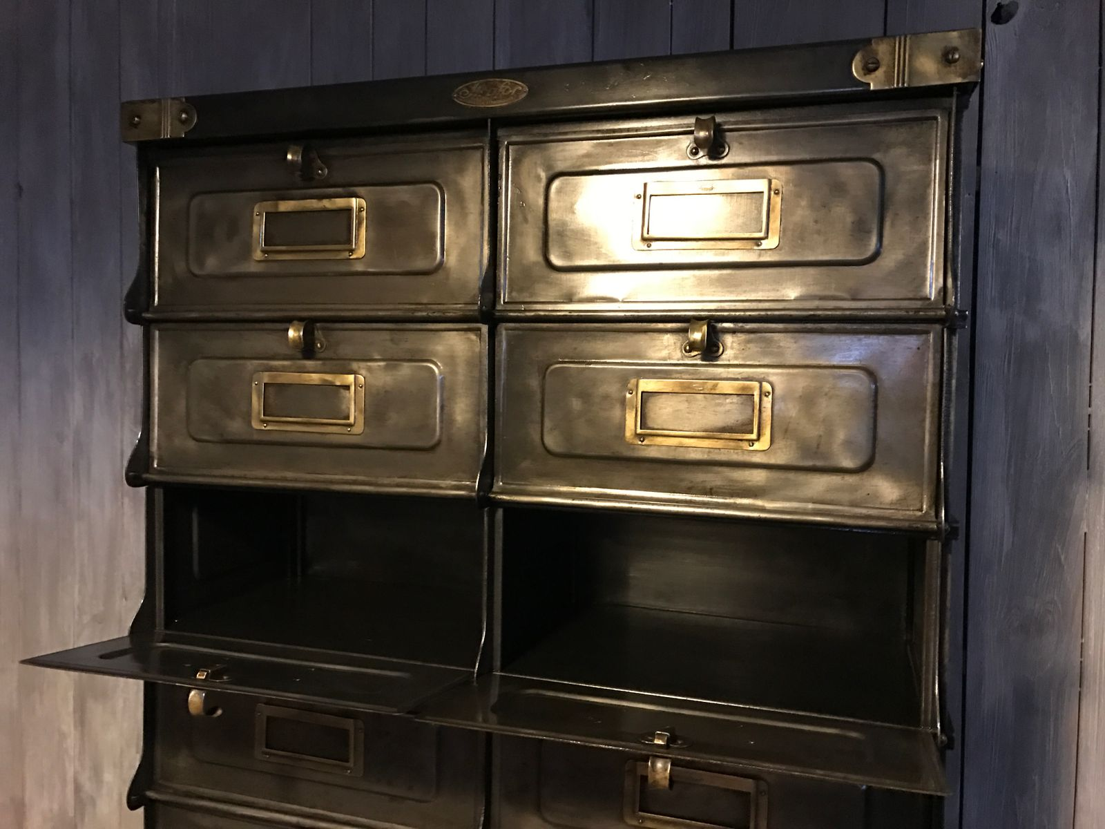 industrial 20 valve drawers cabinet by strafor for sale at. Black Bedroom Furniture Sets. Home Design Ideas