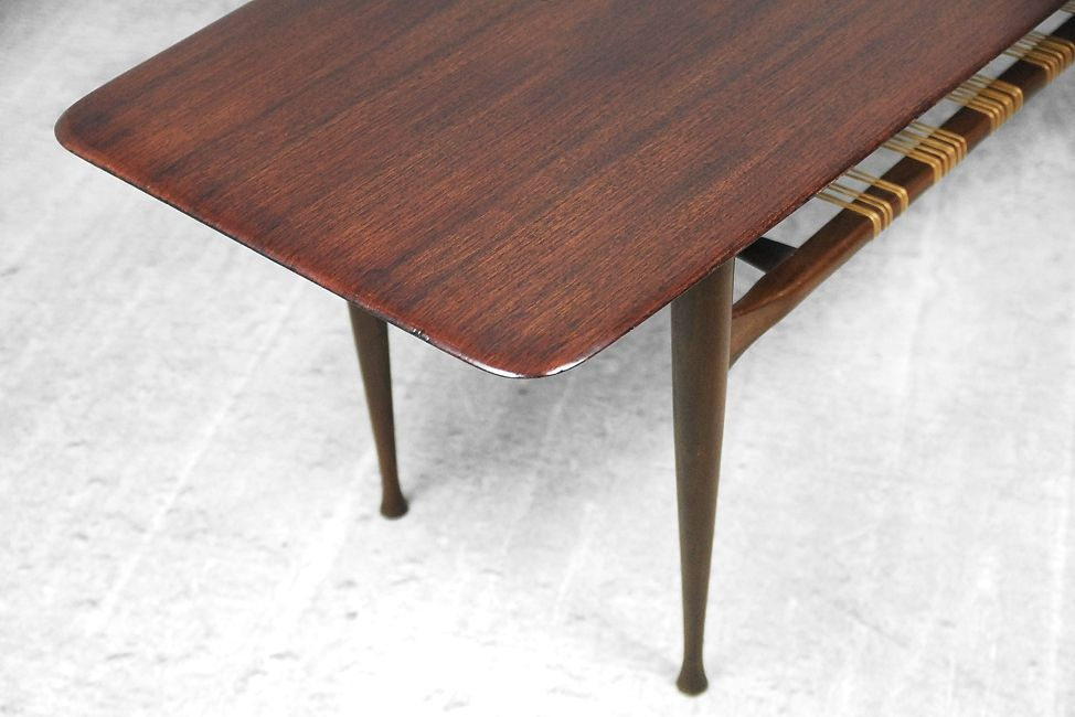Danish Teak Coffee Table With Cane Shelf 1960s For Sale At Pamono