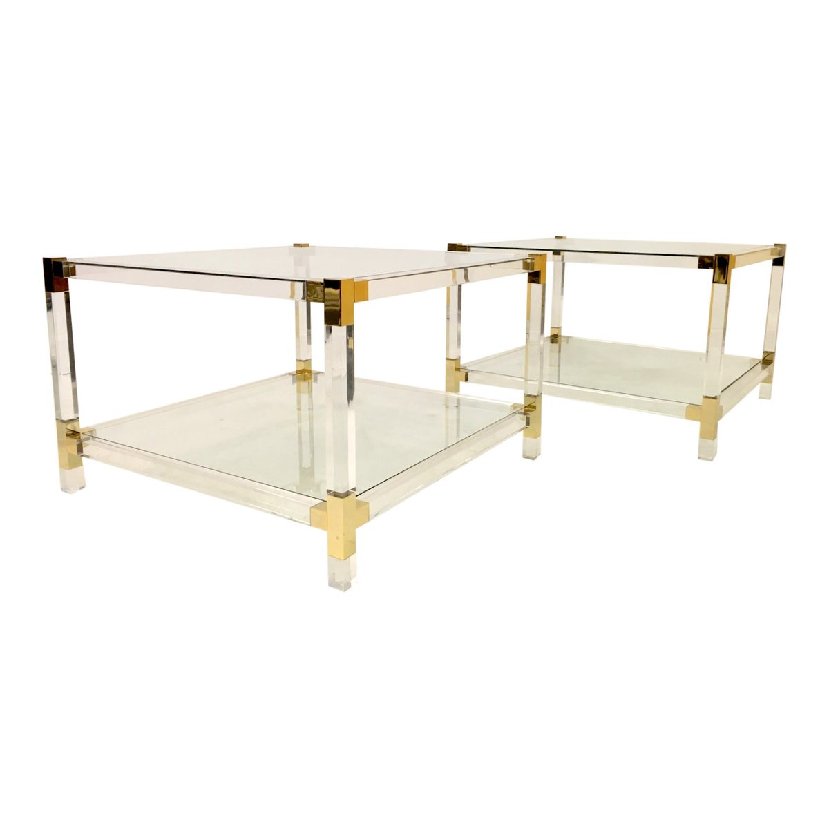 Vintage Two Tier Lucite Side Tables, Set Of 2
