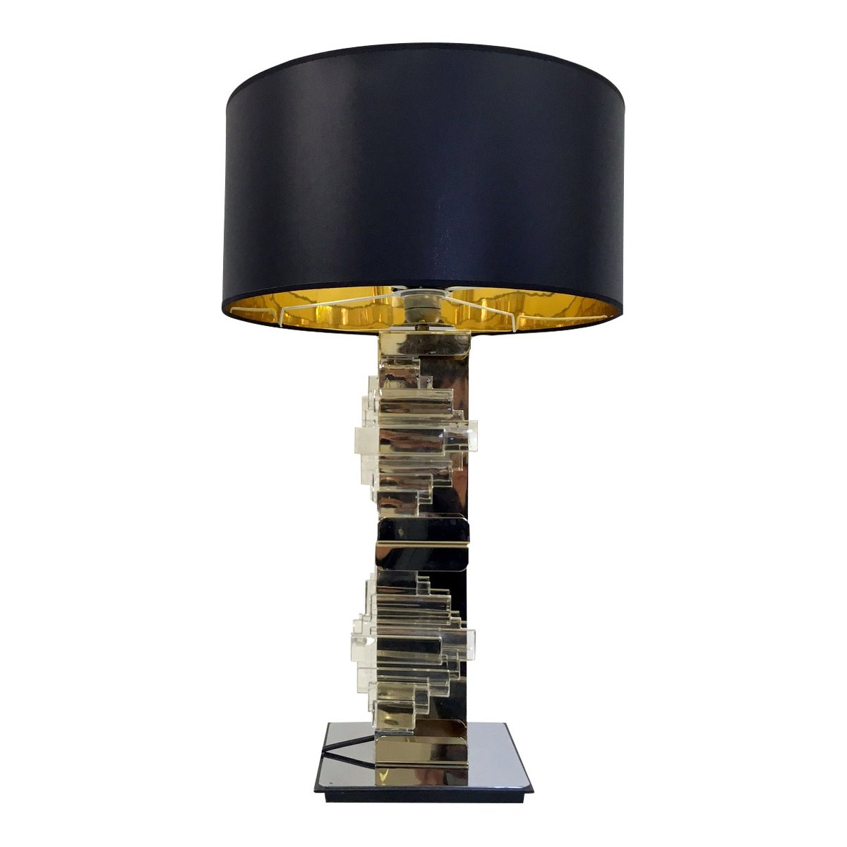 Vintage glass table lamps - Vintage Brass Chrome Glass Table Lamp By Gaetano Sciolari For Sciolari