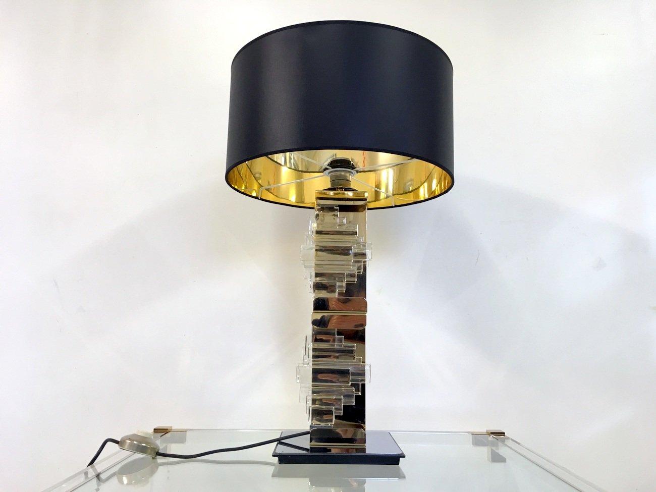 Lampada da tavolo vintage in ottone metallo cromato e - Lampada da tavolo vintage ...