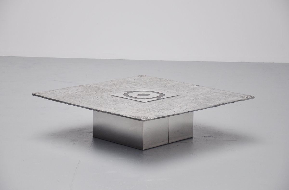 Belgian Brutalist Cast Aluminum Coffee Table From Willy Ceysens 1970 For Sale At Pamono