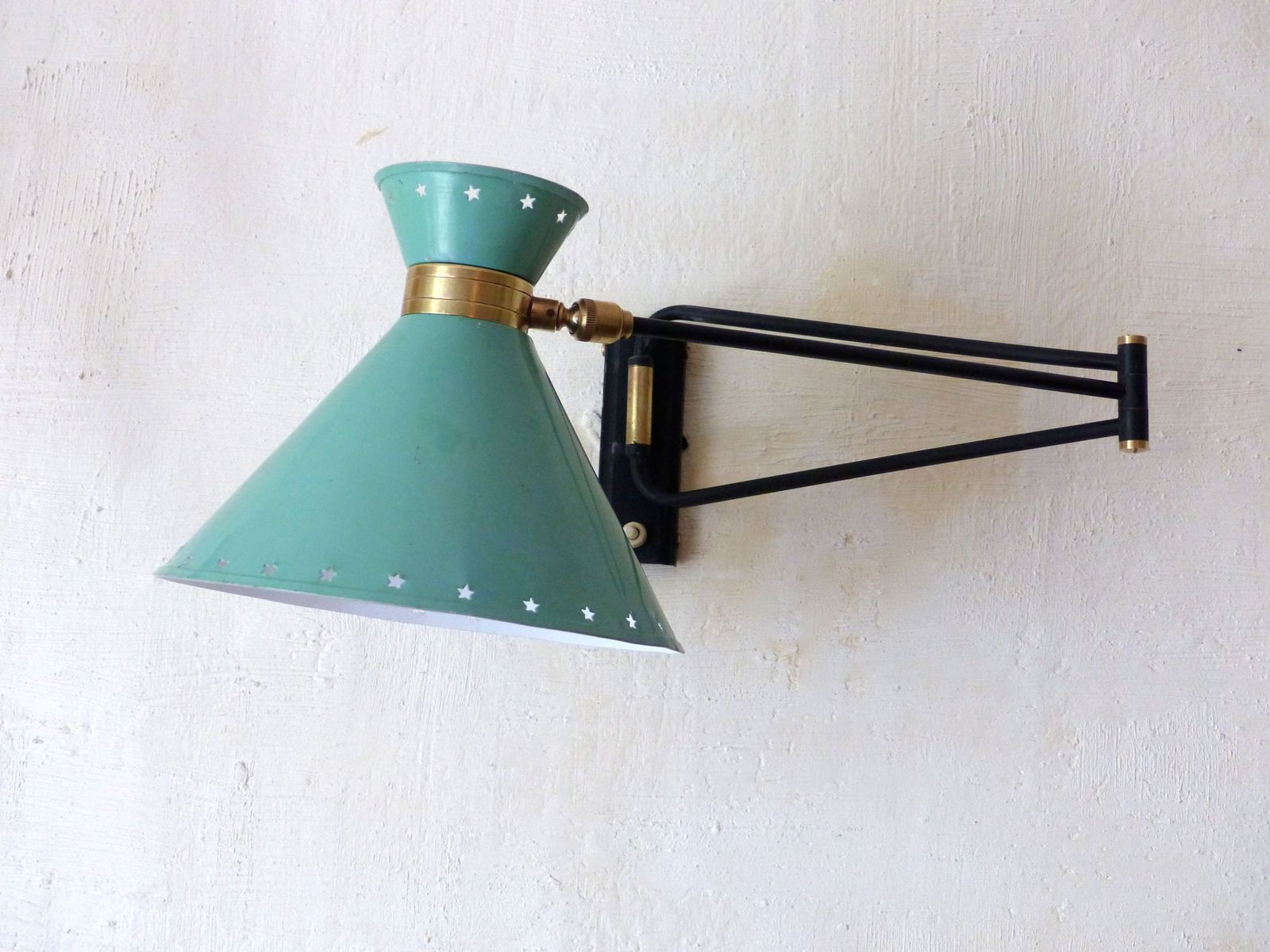 lampe murale verte menthe vintage en vente sur pamono. Black Bedroom Furniture Sets. Home Design Ideas