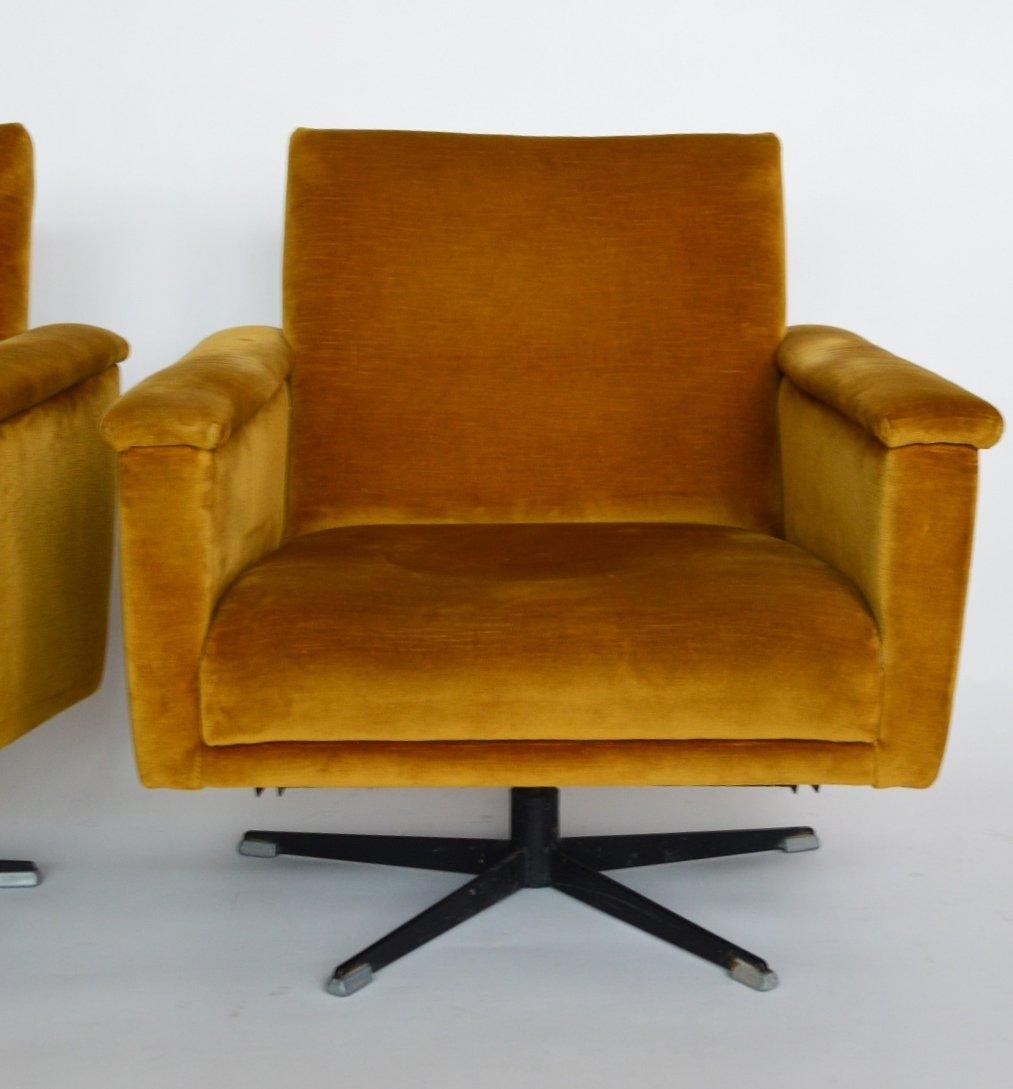 midcentury swiss swivel club chairs in velvet 1960s set of 2