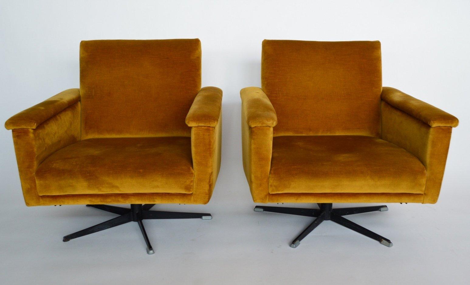 Mid Century Swiss Swivel Club Chairs In Velvet 1960s Set