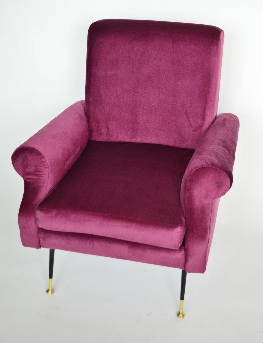 Italienische lila sessel aus samt messing 1950er 2er for Sessel italienisches design