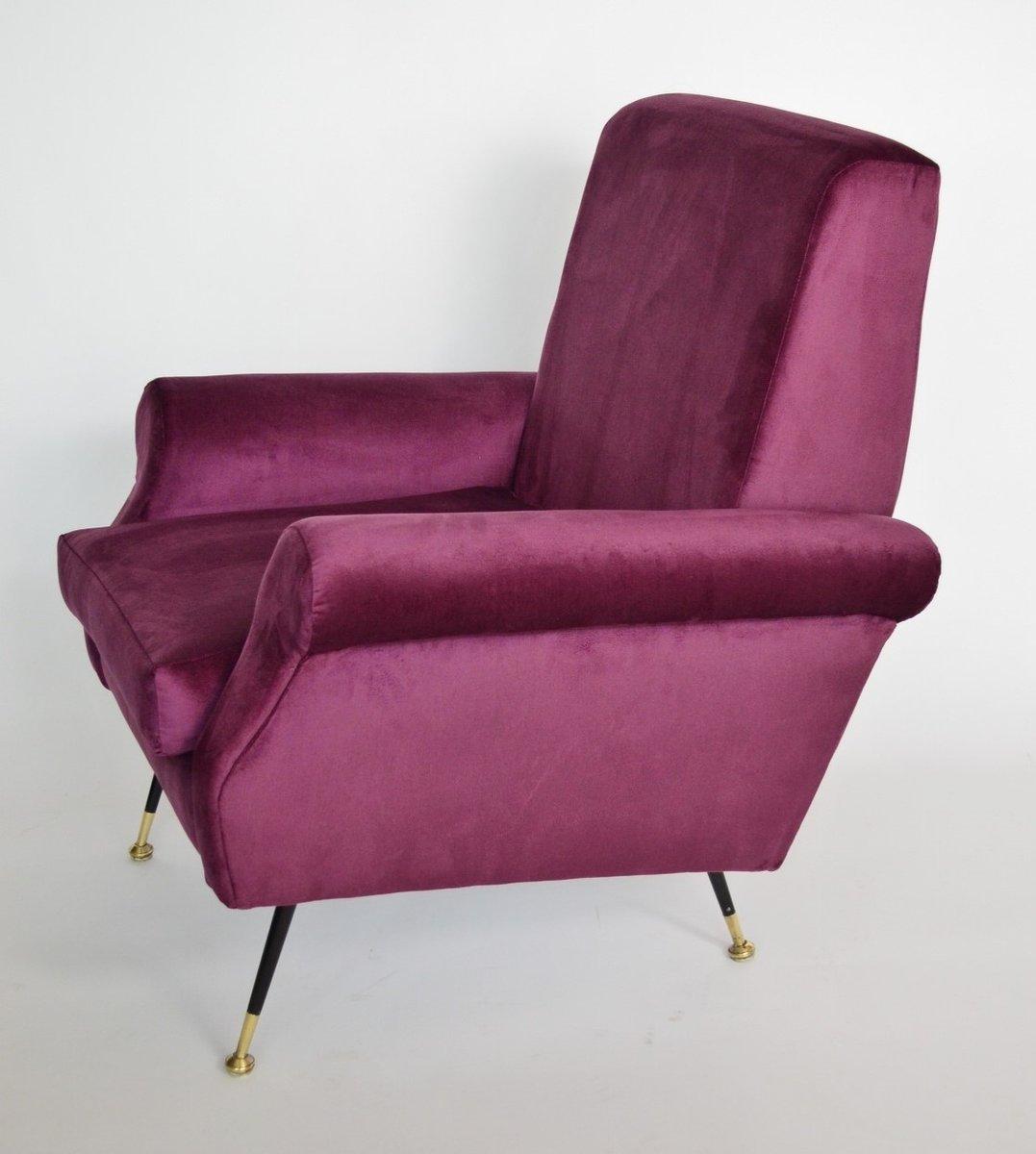 italienische lila sessel aus samt messing 1950er 2er set bei pamono kaufen. Black Bedroom Furniture Sets. Home Design Ideas