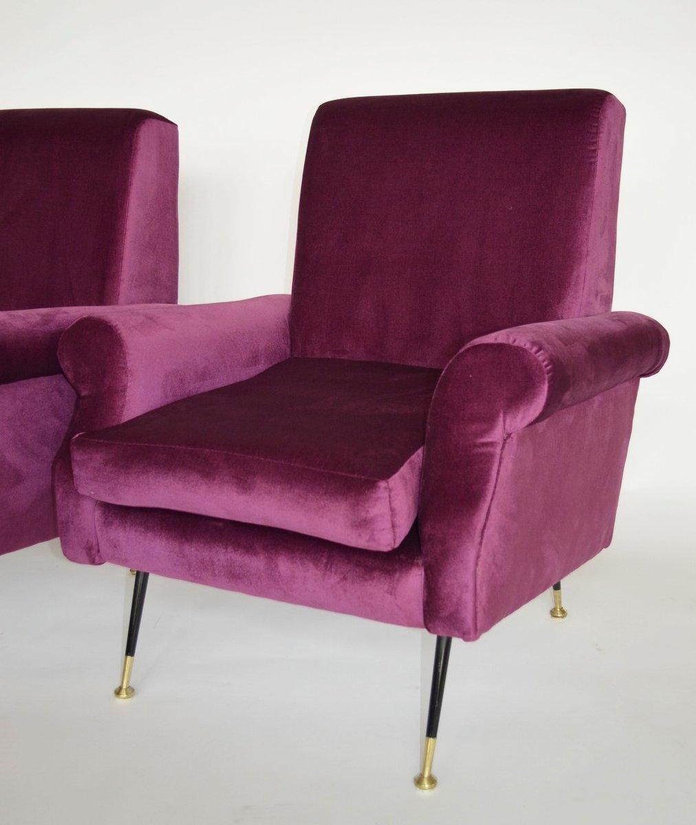 Purple velvet chair - Italian Purple Velvet And Brass Armchairs 1950s Set Of 2