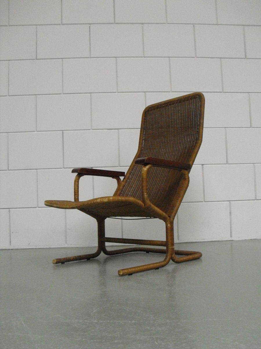 rattan lounge chair by dirk van sliedregt for jonkers 1950s for sale at pamono. Black Bedroom Furniture Sets. Home Design Ideas