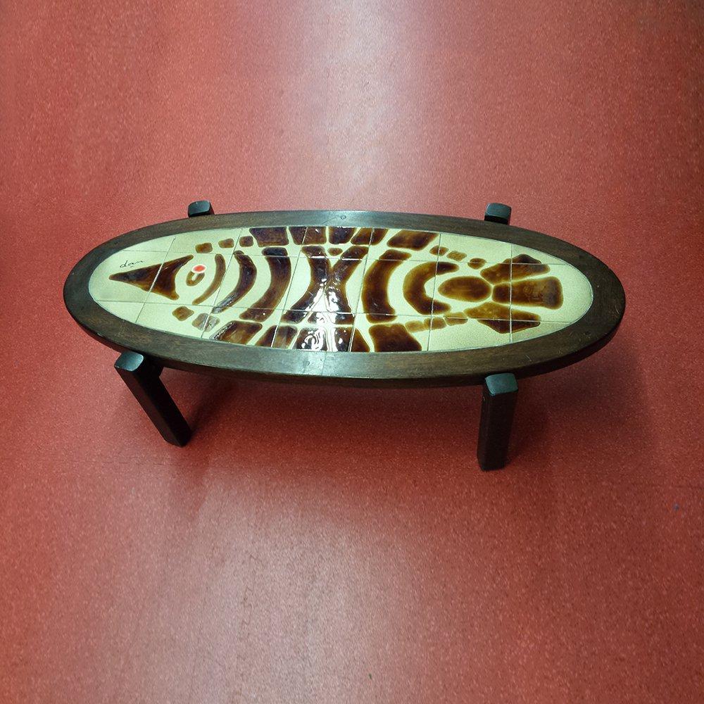 ovaler couchtisch mit kacheln 1960er bei pamono kaufen. Black Bedroom Furniture Sets. Home Design Ideas