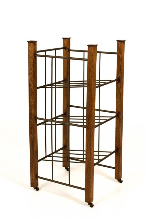 Art Deco Haagse School Oak and Brass Magazine Stand, 1920s