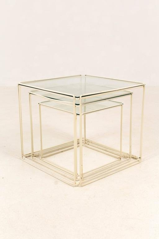 Elegant Mid Century Modern Metal And Glass Nesting Tables By Max Sauze