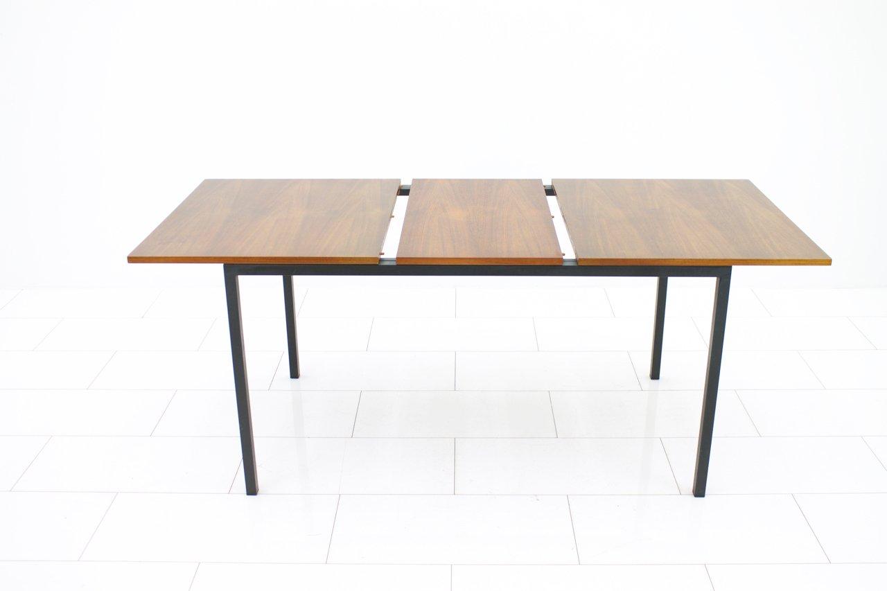 ausziehbarer esstisch aus stahl und teak 1968 bei pamono. Black Bedroom Furniture Sets. Home Design Ideas