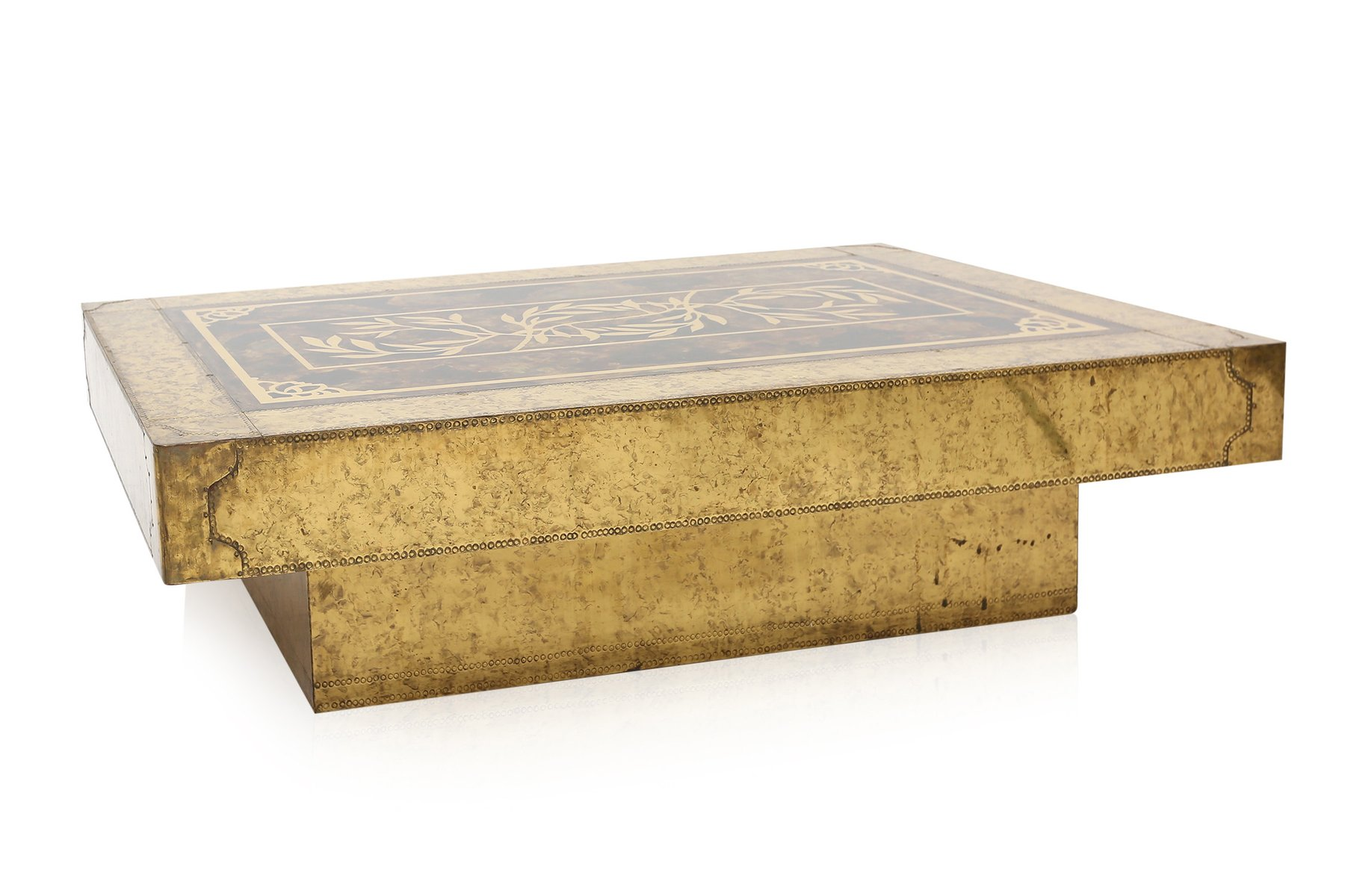 Brass Coffee Table by Bernard Rohne for Mastercraft for sale at Pamono