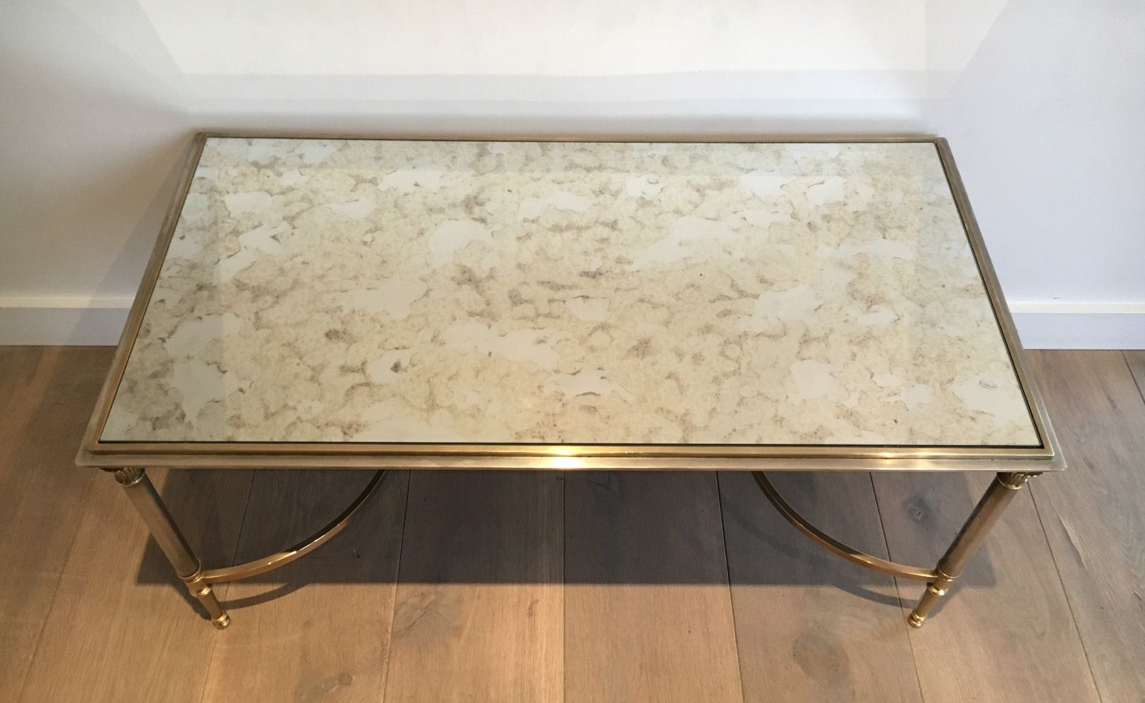 Jansen Coffee Table Brushed Steel And Brass Coffee Table From Maison Jansen 1940s For
