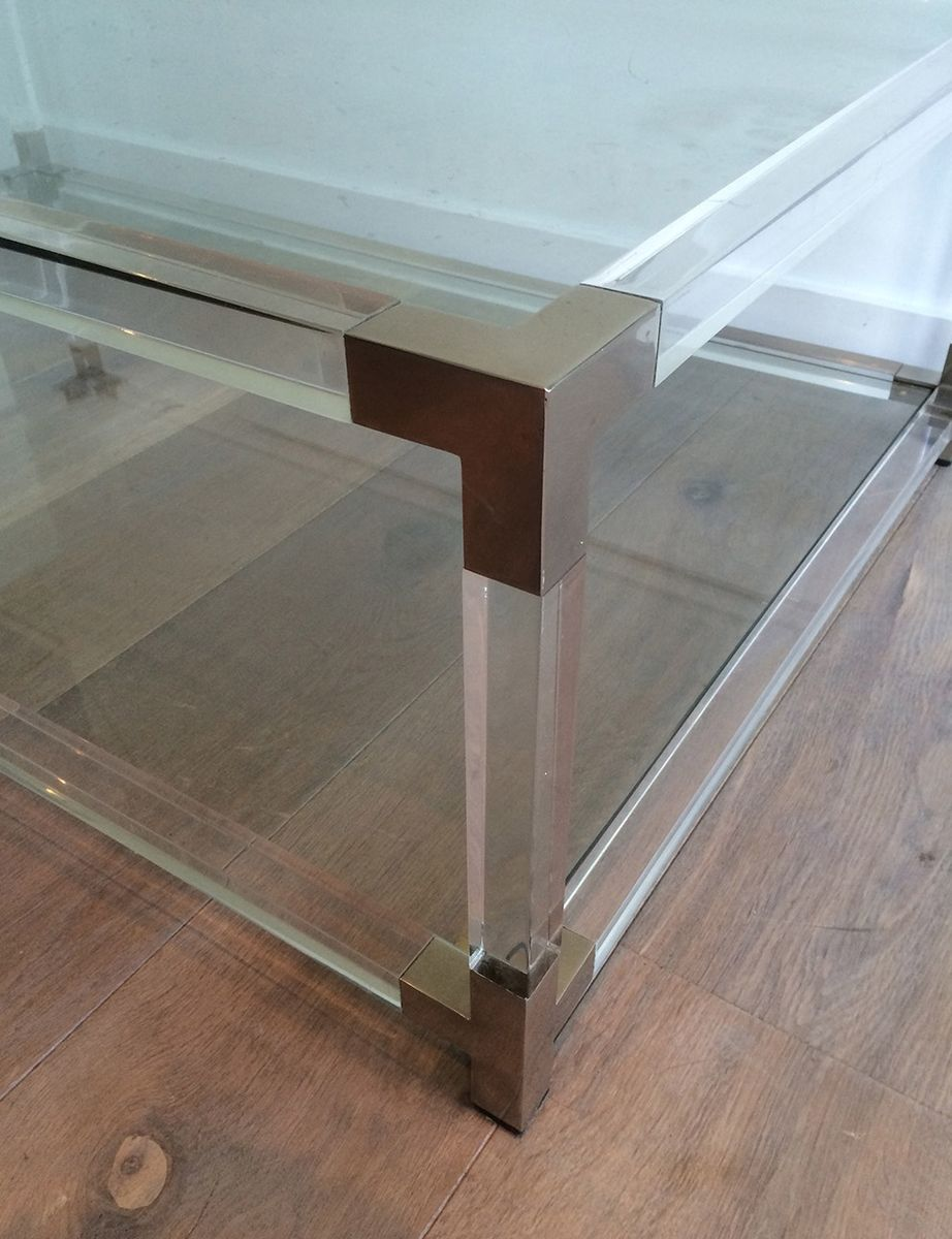 large plexiglass and chrome coffee table from david lange 1970s for sale at pamono. Black Bedroom Furniture Sets. Home Design Ideas