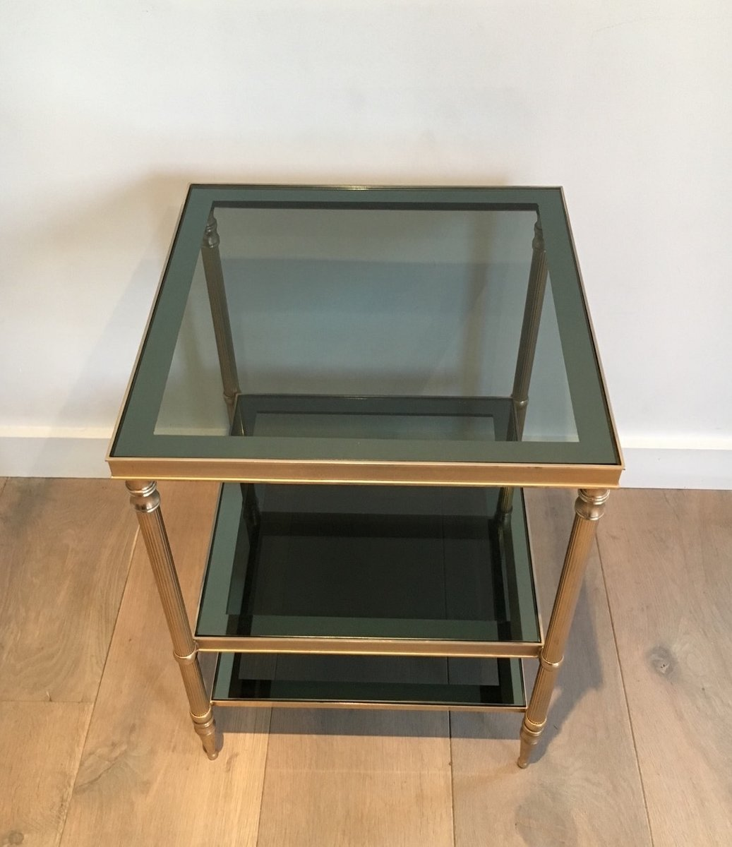 Side tables in golden nickel steel with three glass trays set of previous geotapseo Images