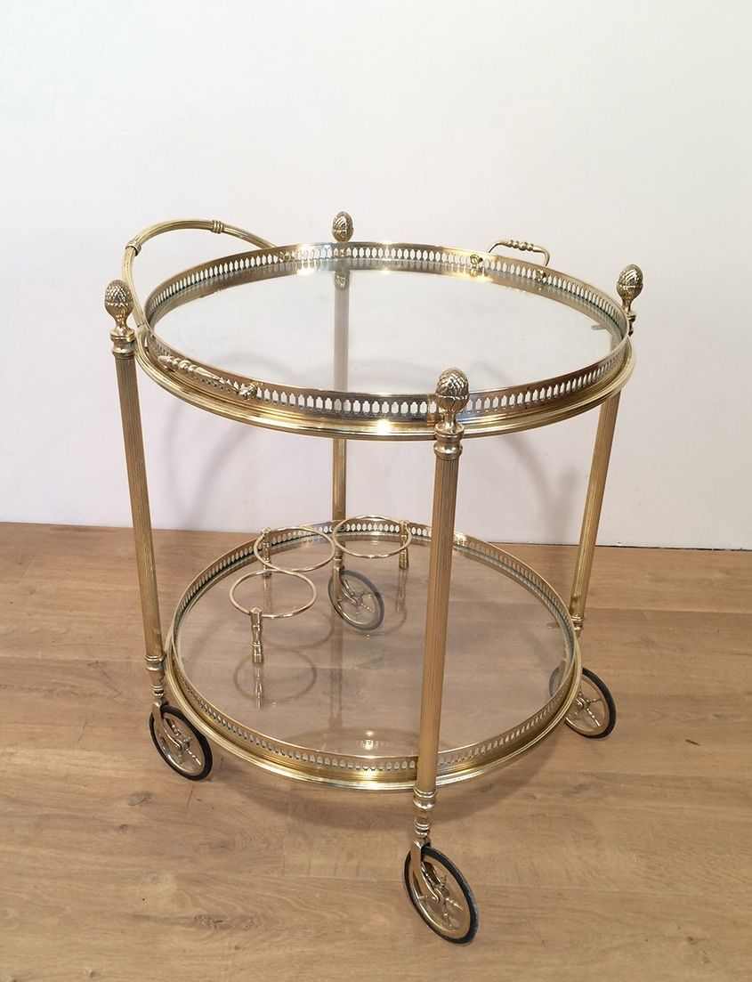 Vintage Metal Kitchen Cart Vintage Brass And Glass Serving Trolley For Sale At Pamono