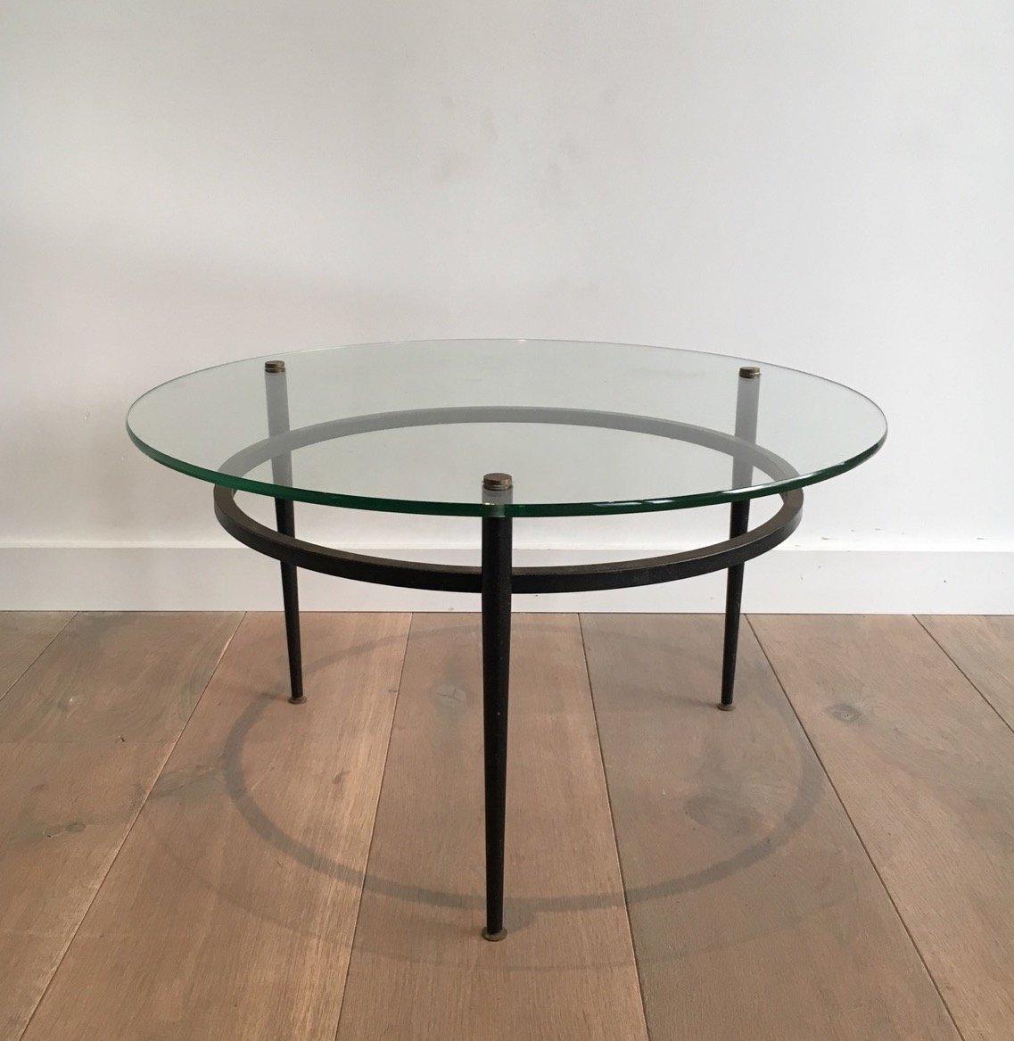 Petite table basse vintage ronde en verre en vente sur pamono for Petite table basse ronde