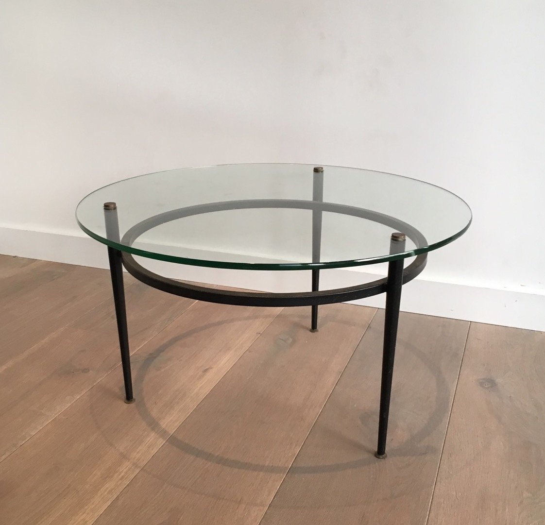 Vintage small round glass coffee table for sale at pamono for Round glass coffee tables for sale