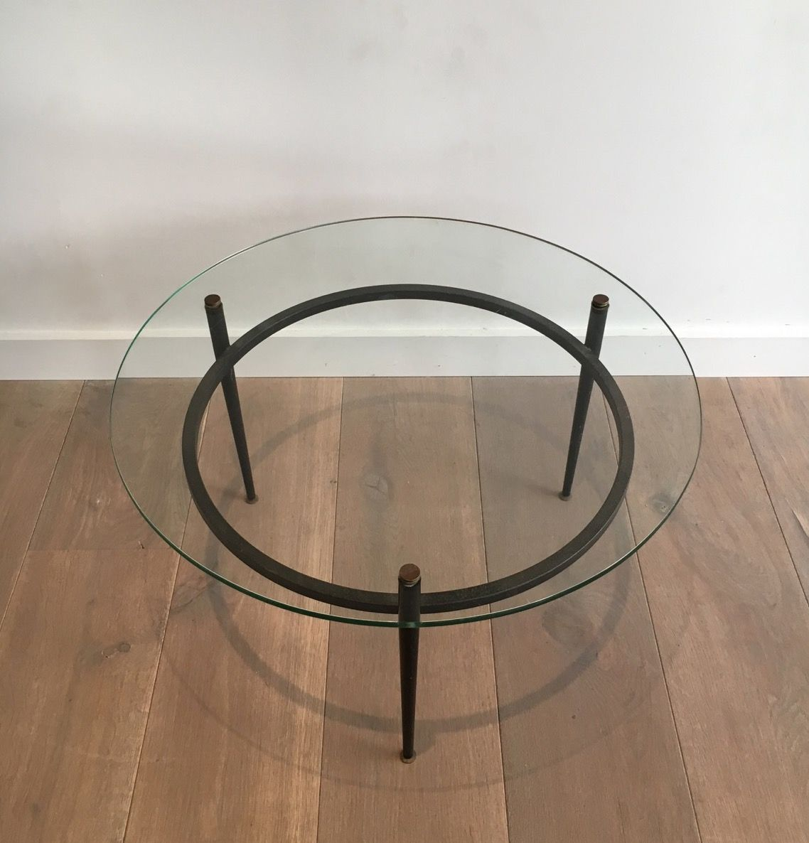 Vintage Small Round Glass Coffee Table