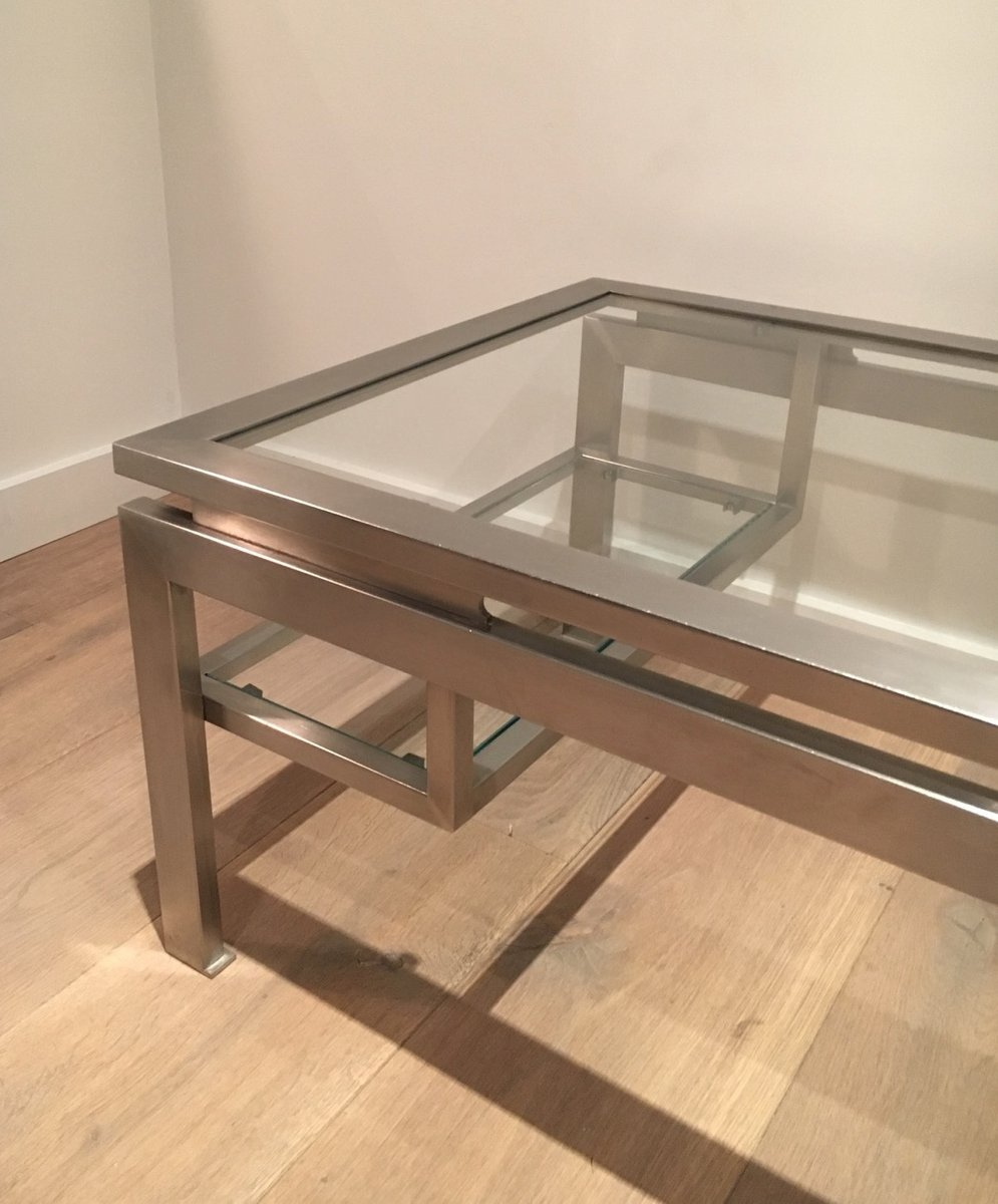 Brushed Aluminum Coffee Table: Modernist Brushed Metal Coffee Table By Guy Lefèvre For