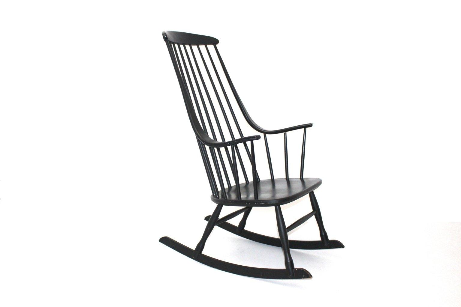 Black rocking chair - Black Grandessa Rocking Chair By Lena Larsson For Nesto 1960s