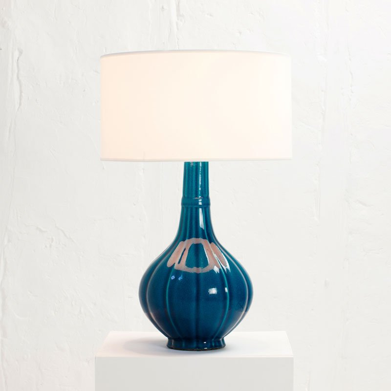 Blue Ceramic Table Lamp by Pol Chambost, 1972 for sale at Pamono