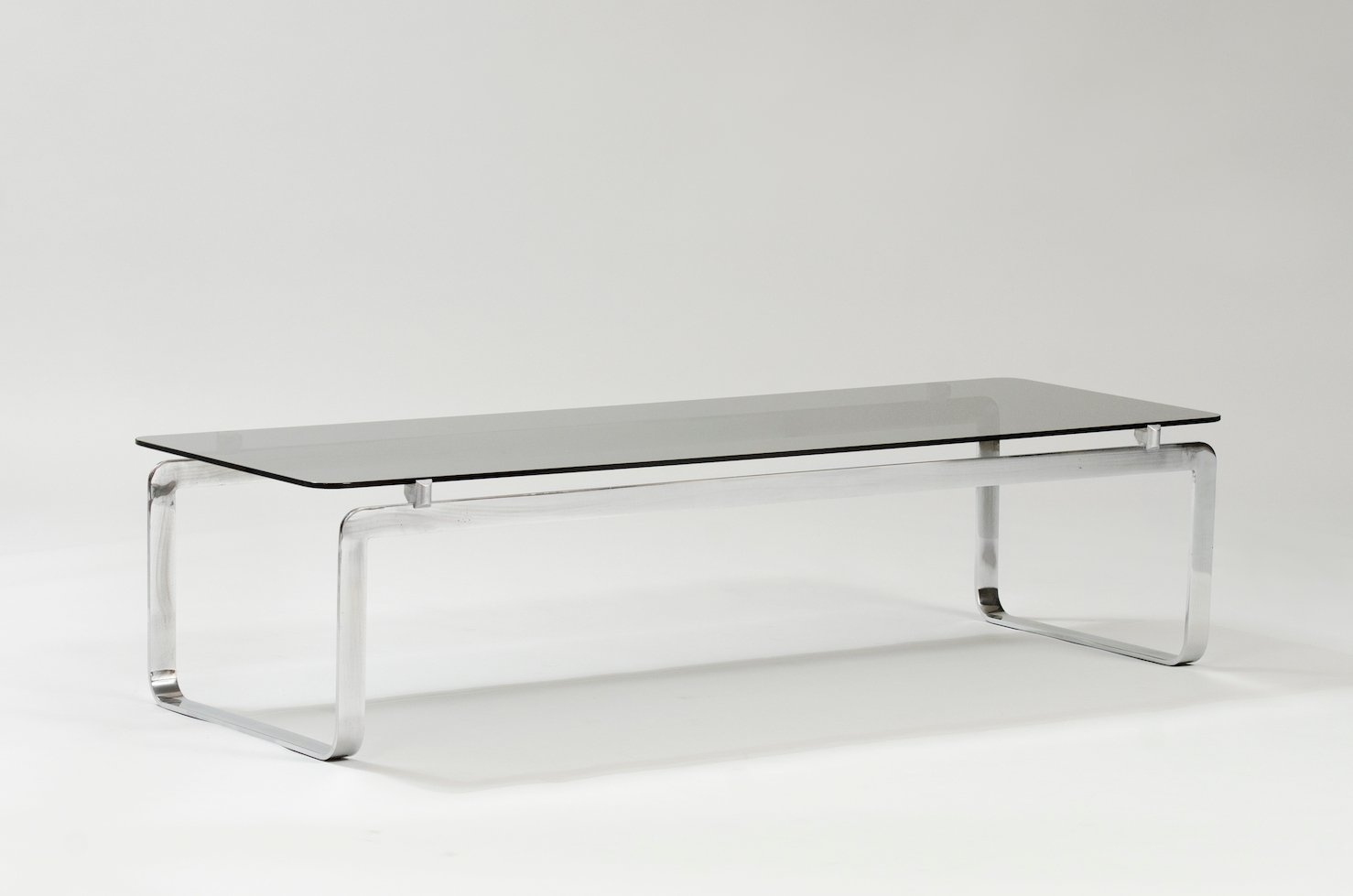italian coffee table in chrome and smoked glass for sale at pamono. Black Bedroom Furniture Sets. Home Design Ideas