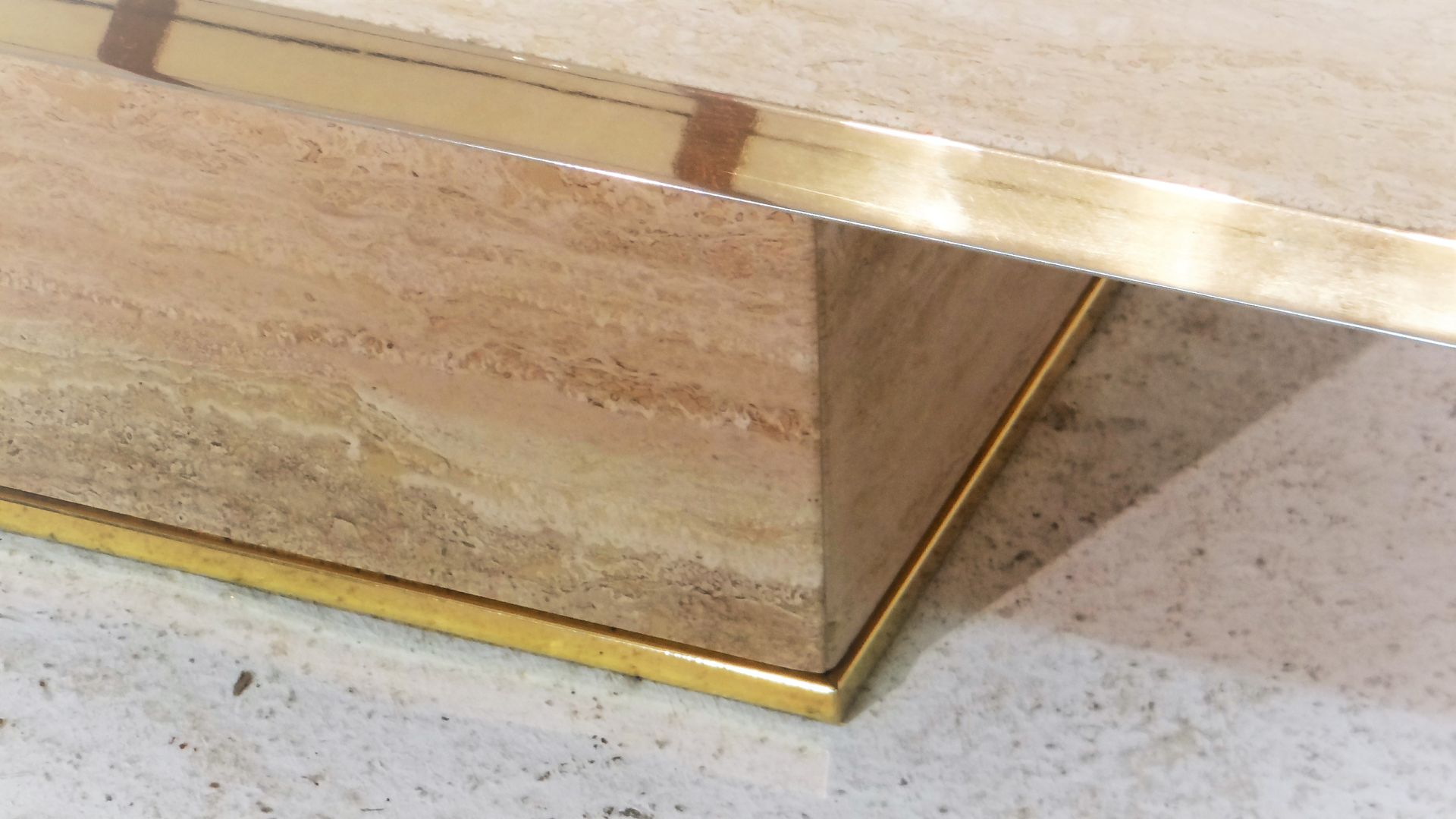 Travertine coffee table with gilded brass edges for sale at pamono travertine coffee table with gilded brass edges 10 112800 price per piece geotapseo Image collections
