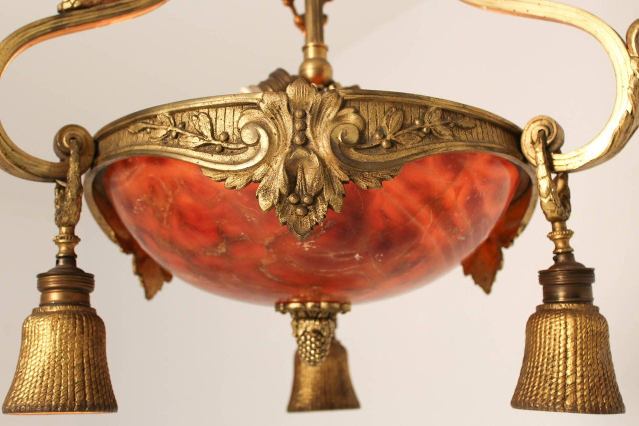 Price per piece - Antique French Gilt Bronze And Alabaster Ceiling Light For Sale At