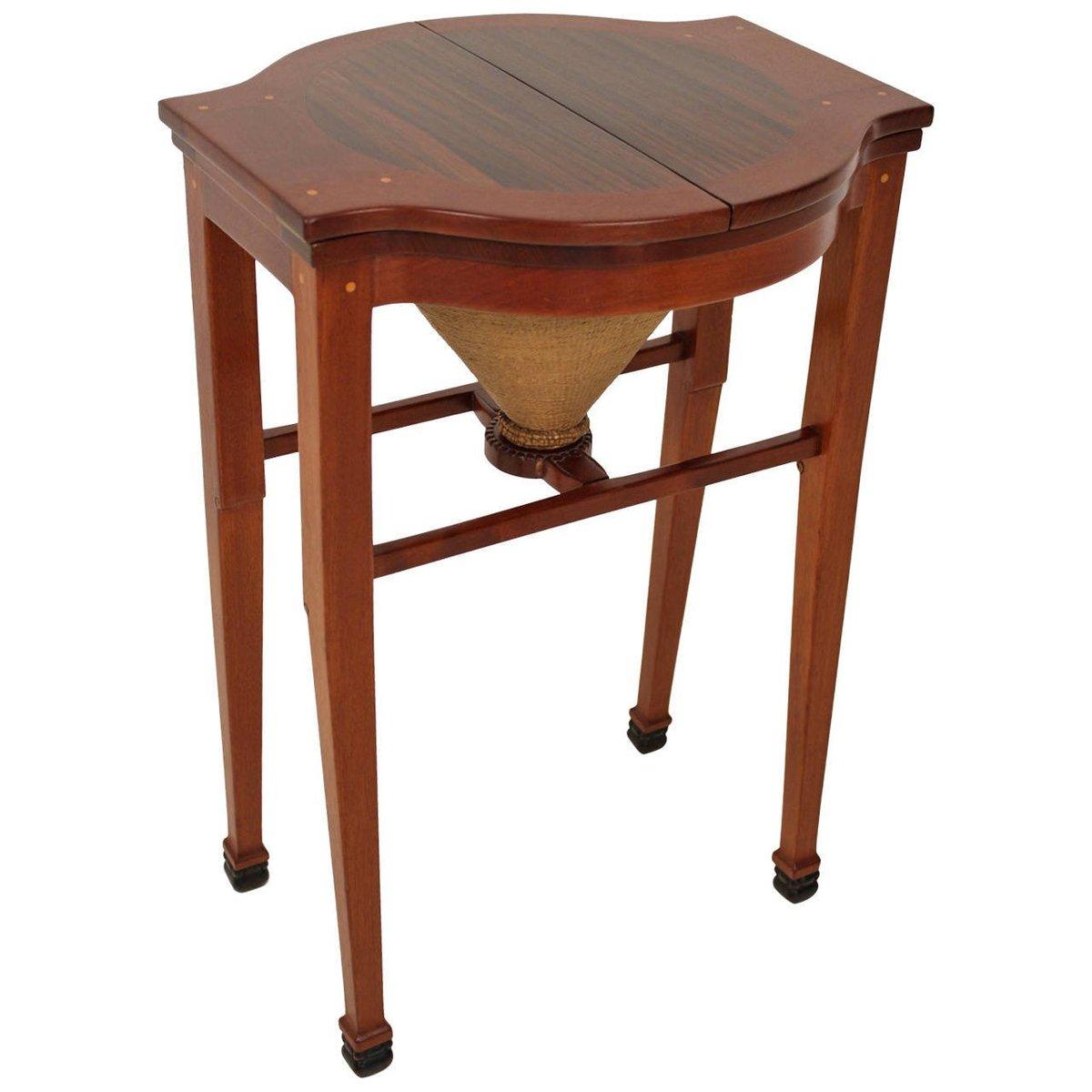 Art Nouveau Drop Leaf Sewing Table By Jac Van Den Bosch