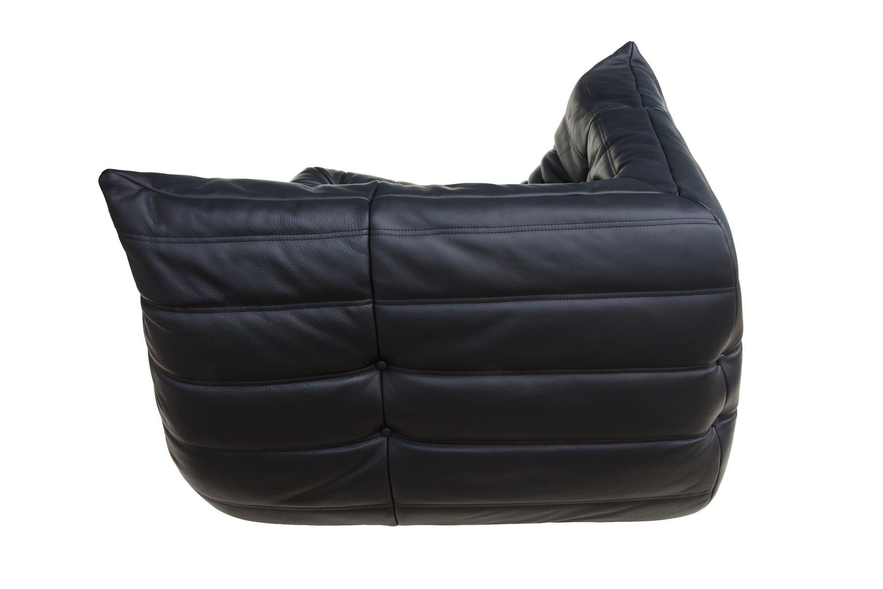 Set de canap togo noir en cuir par michel ducaroy pour ligne roset 1974 en - Togo cuir ligne roset ...