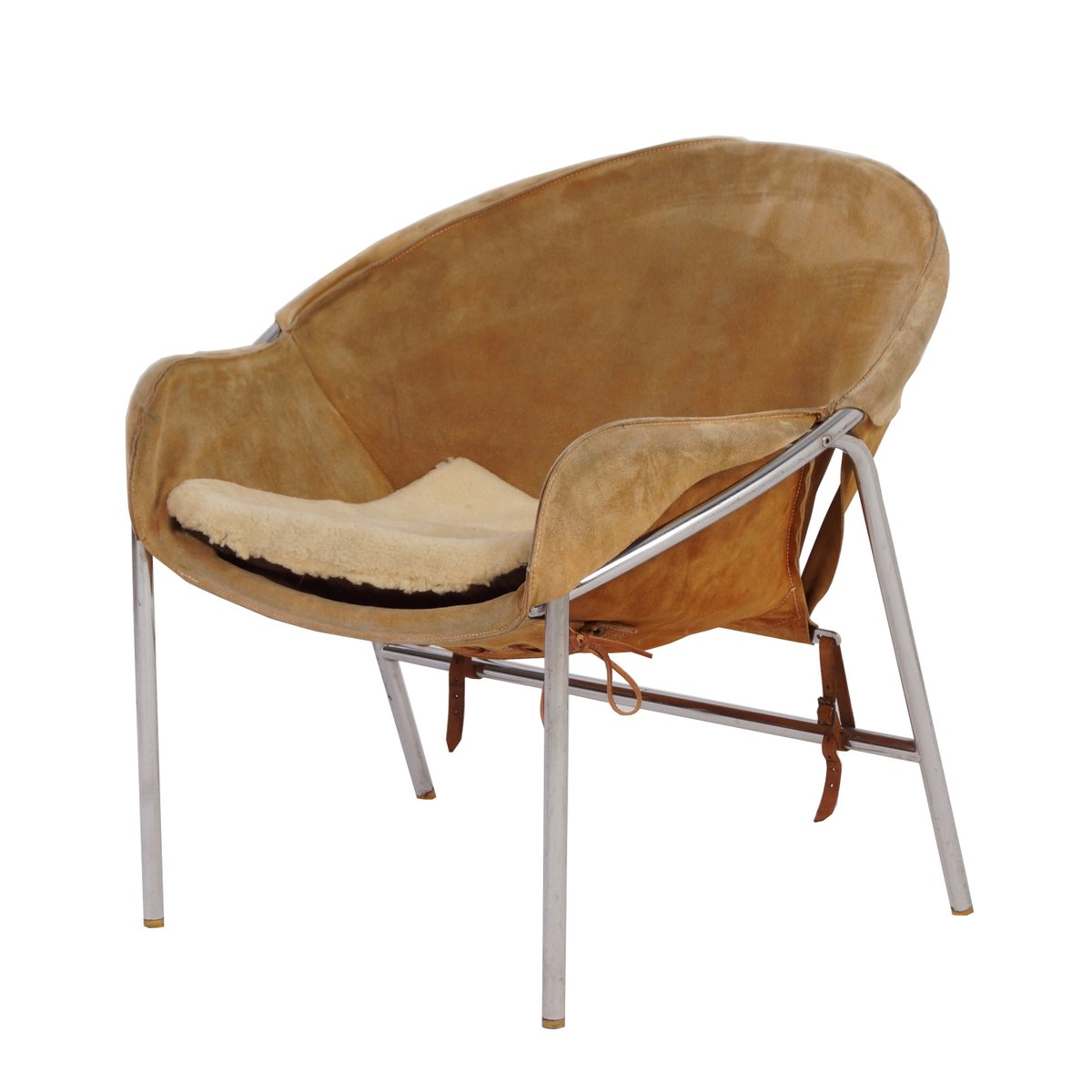 Light Brown Suede Sling Chair By Erik Jørgensen For Bovirke, 1950s