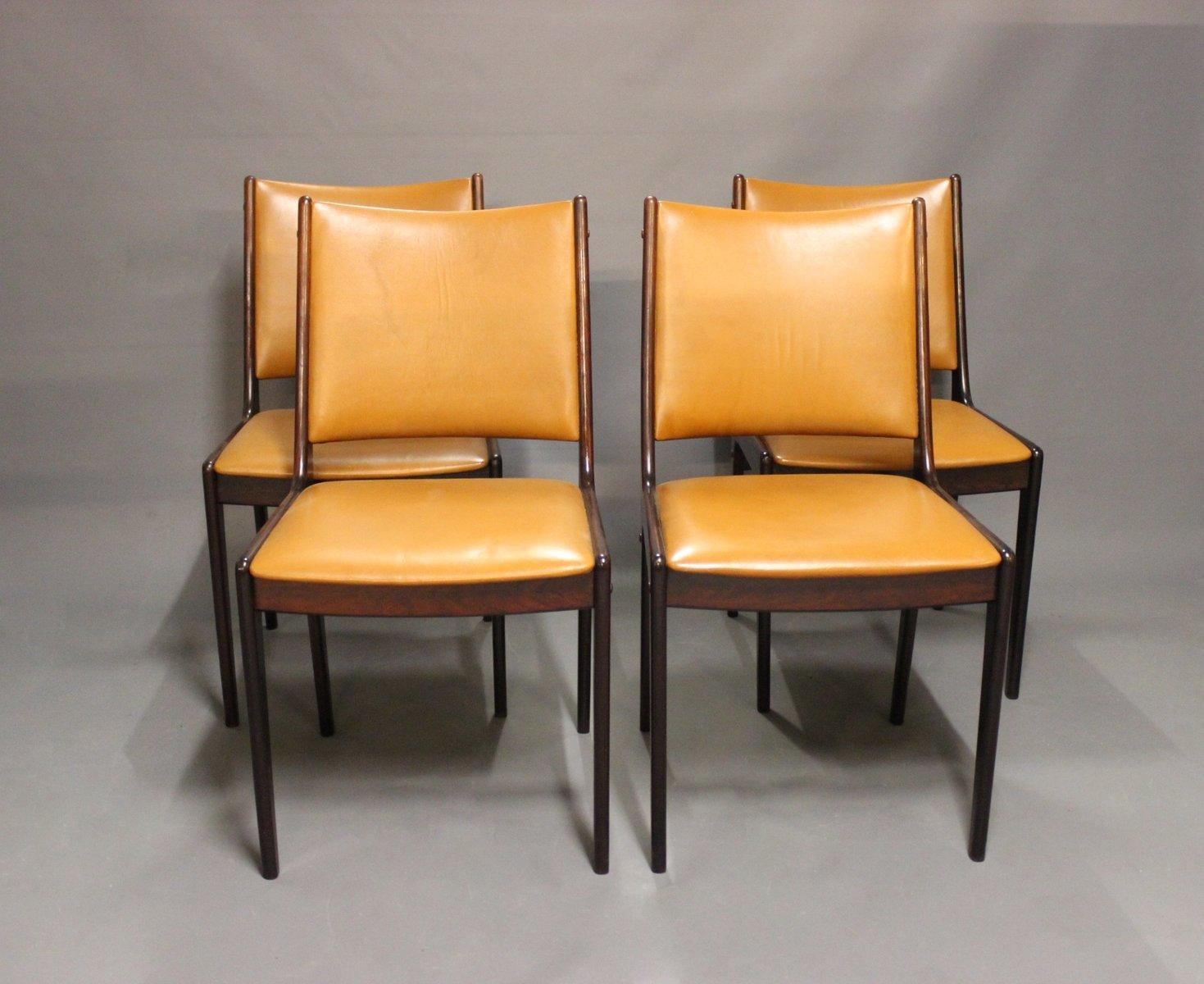 Chaises de salle manger en cuir cognac acajou 1960s for Salle a manger 1960