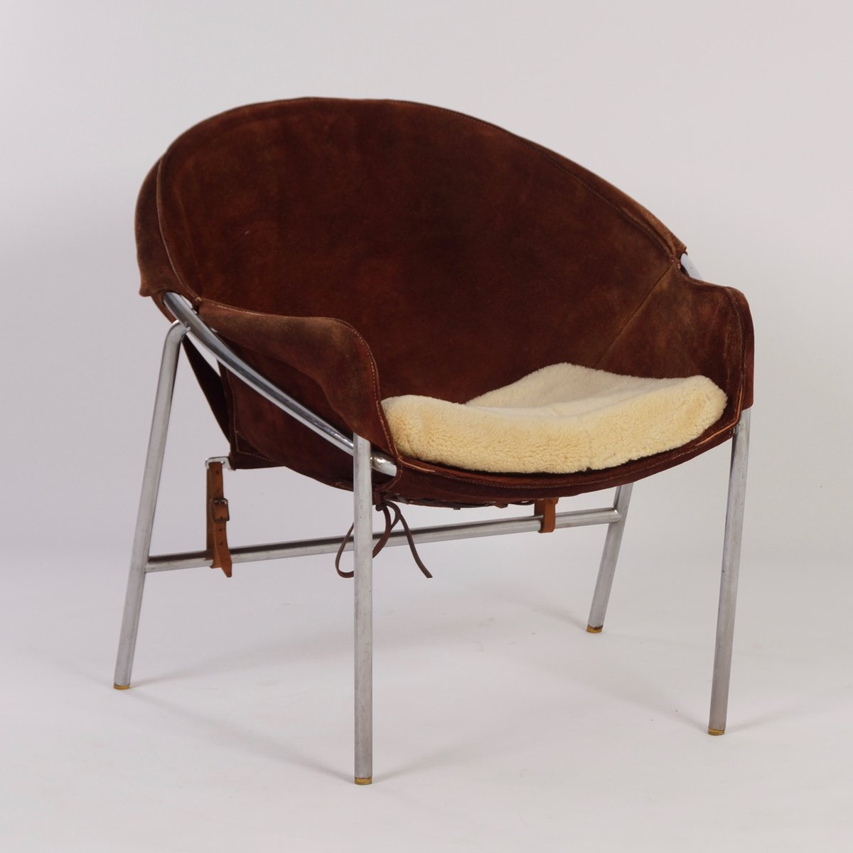 Danish Dark Brown Suede Sling Chair By Erik Jørgensen For Bovirke, 1950s