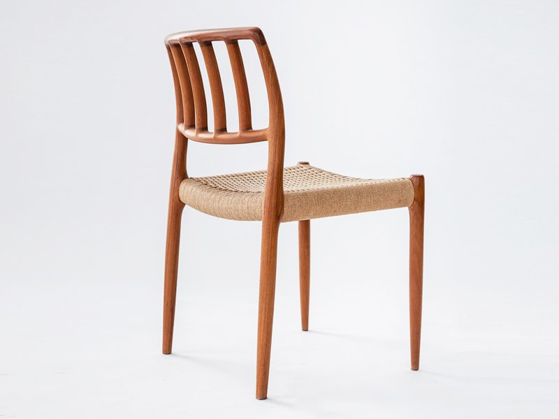 Vintage Solid Teak Chairs with Cord Seating by N O Mller for JL